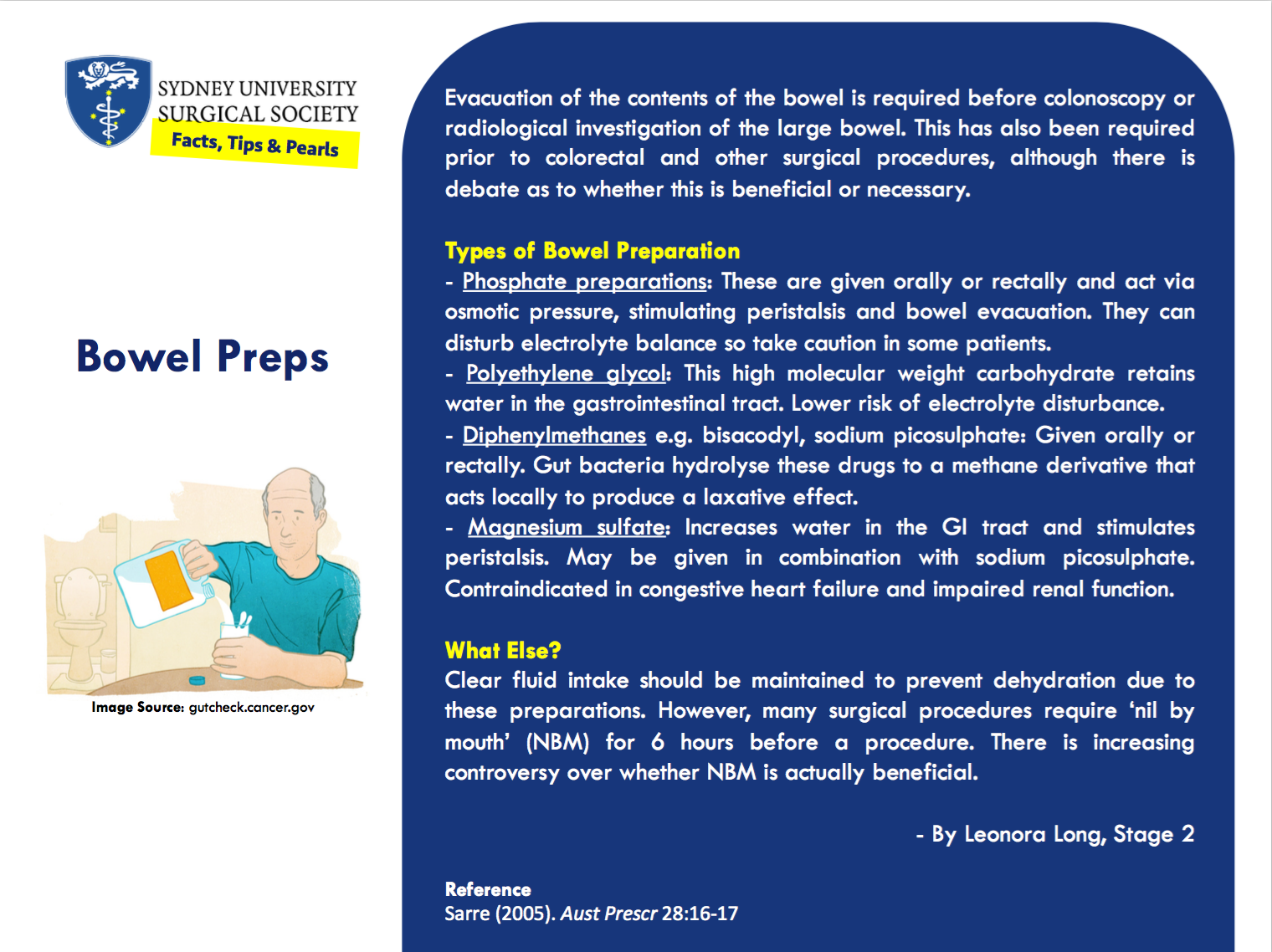 Text summarising the types of bowel preparations used in endoscopic and some surgical procedures